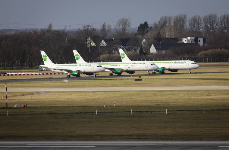 Die Germania-Flugzeuge bleiben am Boden. Die Airline ist pleite.