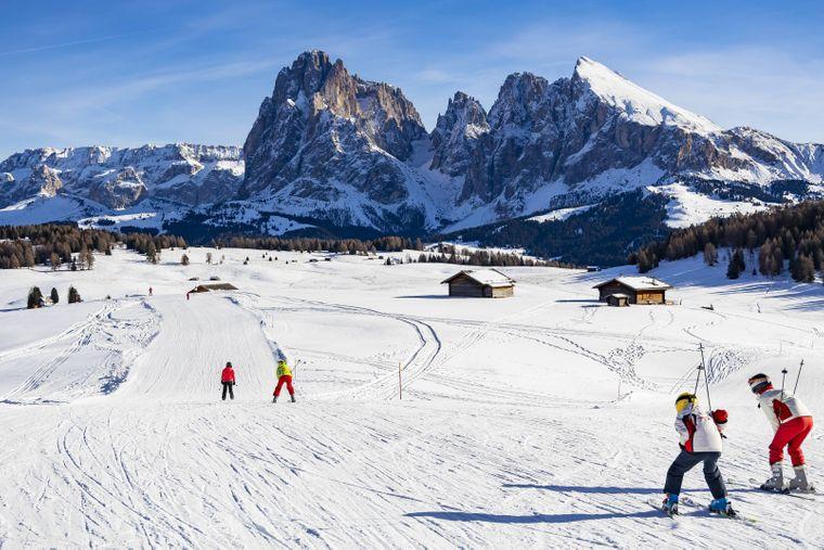 Das Skigebiet Gröden in der Seiser Alm.