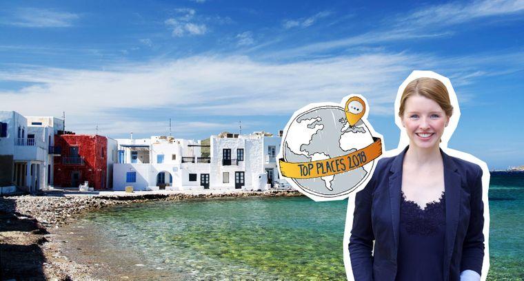 Fotomontage vom reisereporter Top Place Paros, zu sehen ist Naoussa, eine kleine Hafenstadt im Norden der griechischen Insel auf den Kykladen.