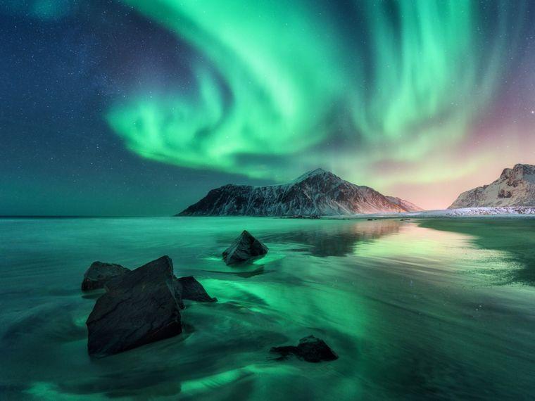 Grüne Nordlichter über einem Fjord auf den Lofoten in Norwegen.
