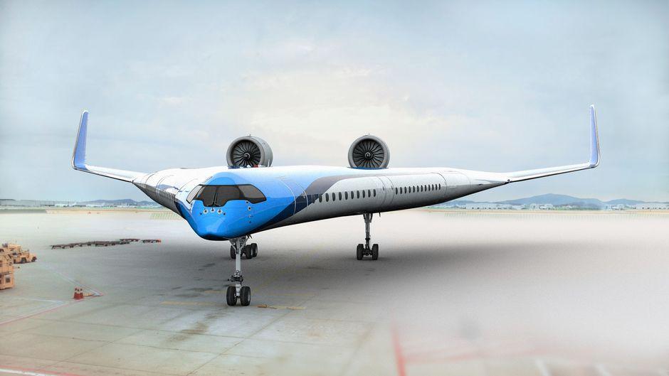 """Entwurf des Flugzeugs """"Flying-V"""" mit Kabinen über den Flügeln."""