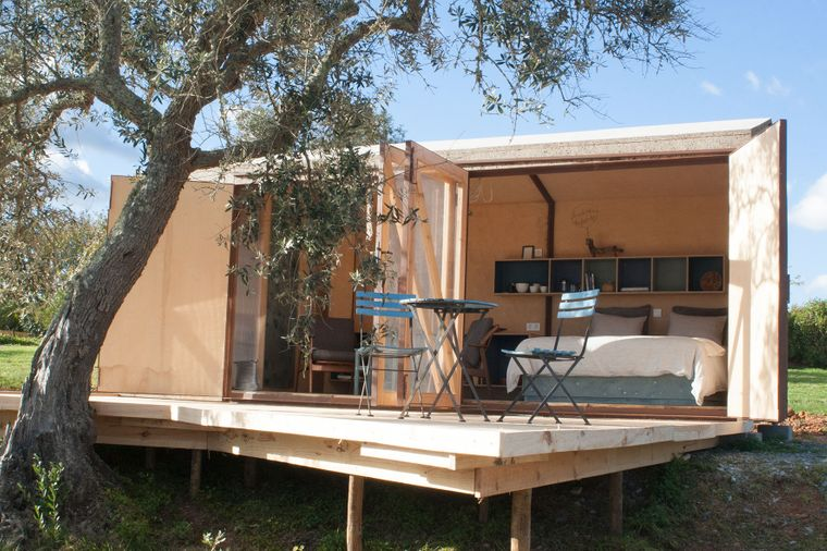 Blick in das Tiny House Choupana in Portugal.