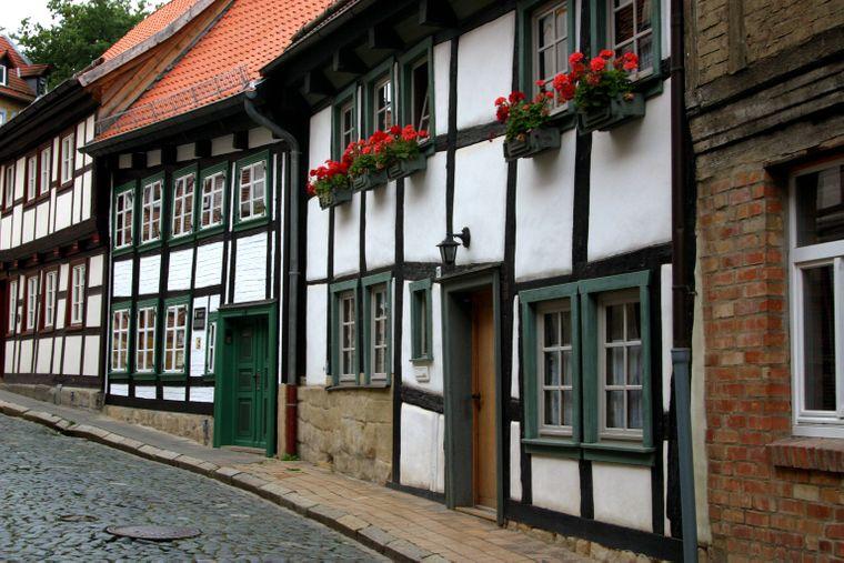 Das ältestes Fachwerkhaus in der Altstadt von Blankenburg im Harz.