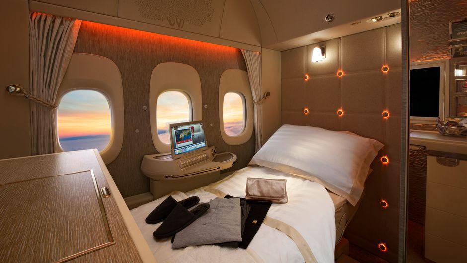 Die virtuellen Fenster in der First Class Private Suite von Emirates sehen täuschend echt aus.