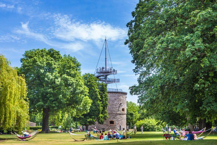 Vom Aussichtsturm aus haben Besucher einen guten Blick auf das Egaparkgelände in Erfurt.