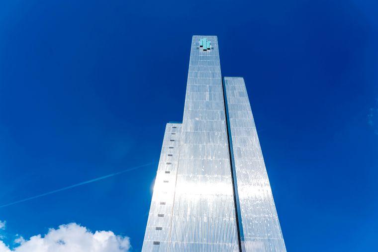 Das Dreischeibenhaus in Düsseldorf ist ganze 94 Meter hoch.