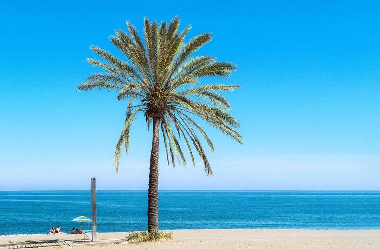 Strand im Sommer mit wenig Menschen – an der Costa del Sol, Casares, Andalusien.