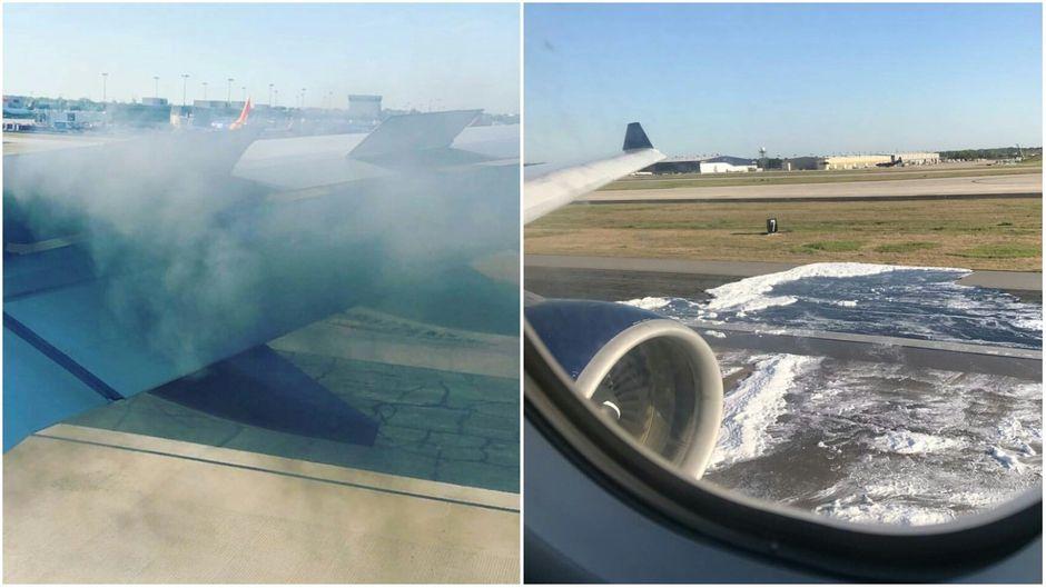 Das Triebwerk der Delta-Maschine fing Feuer und es kam zu einer starken Rauchentwicklung.