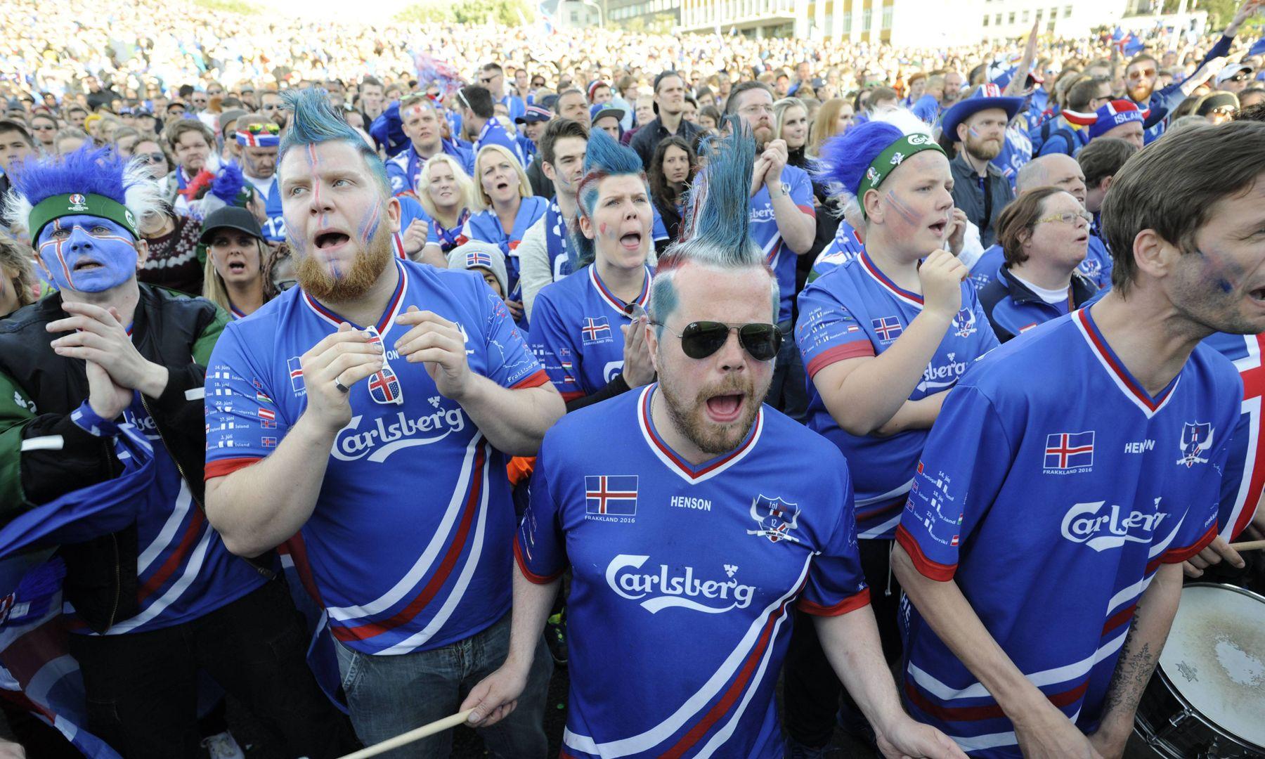 Fußballspiel Frankreich Island