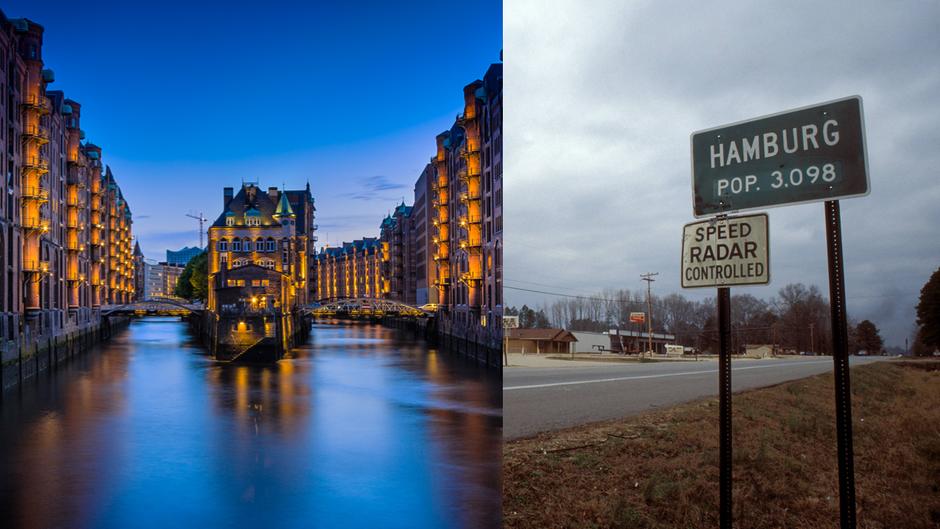 Hamburg (Deutschland) und Hamburg (Arkansas, USA): Welches Hamburg schöner ist, liegt wohl im Auge des Betrachters.
