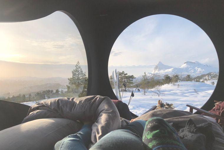 Aussicht aus einer Birdbox in Norwegen.