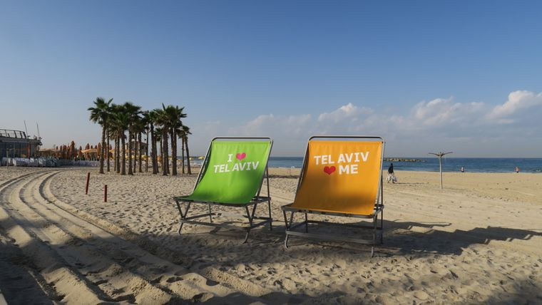 Der Strand von Tel Aviv ist 15 Kilometer lang.