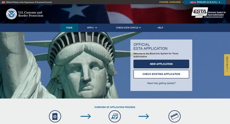 Screenshot der ESTA-Seite, auf der Touristenvisa für die USA beantragt werden können.