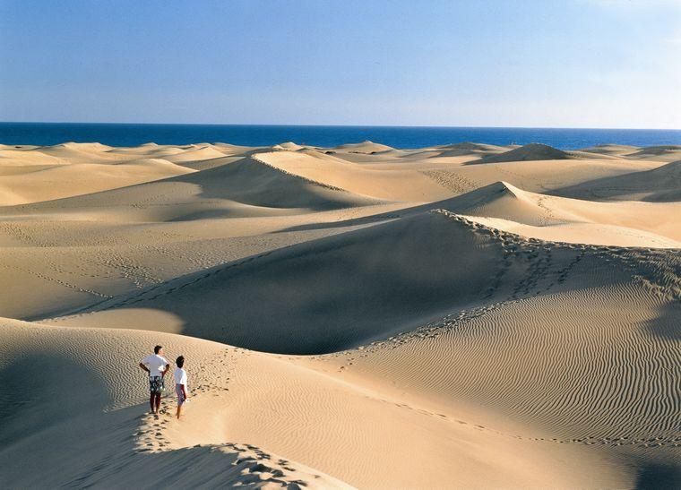 Nicht nur einer der bekanntesten Strände der Kanaren, sondern von ganz Spanien, ist die Playa de Maspalomas aufGran Canaria.