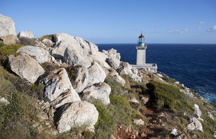 Der Leuchtturm im Kap Tenaro auf der Halbinsel Mani.