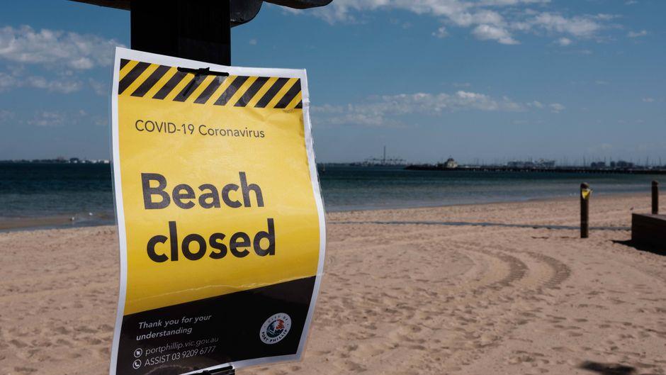 Ein Strand in Melbourne ist wegen des Coronavirus geschlossen.