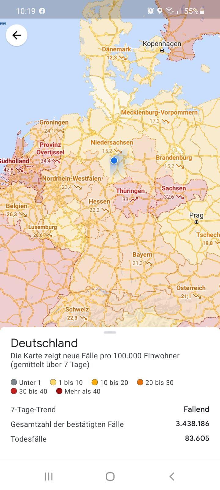Google kann dir die Corona-Lage in einer Region anzeigen. Dafür musst du bei Google-Maps einfach nur die Ebene ändern.
