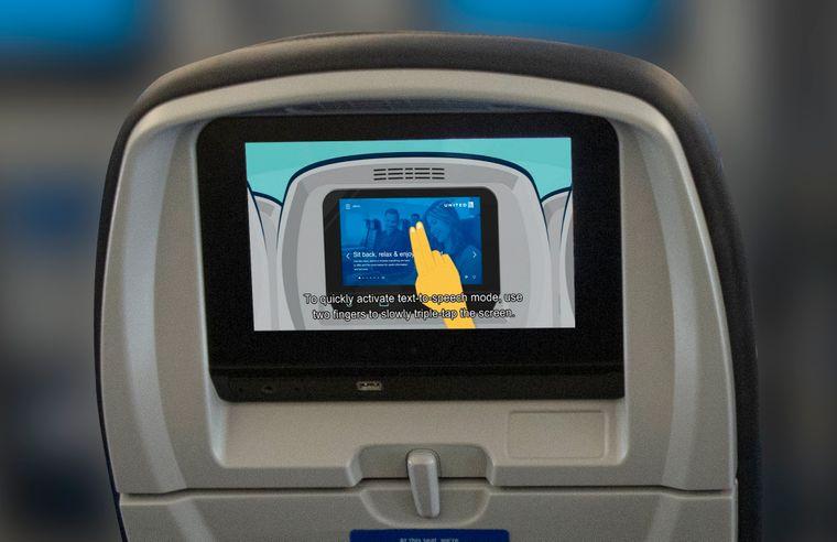 Neue Bildschirme von United Airlines können auch von Passagieren mit eingeschränkter Mobilität und Sehbehinderung bedient werden.