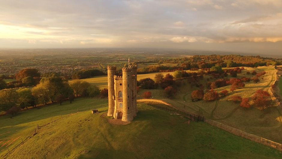Der Broadway Tower in Worcestershire in England.