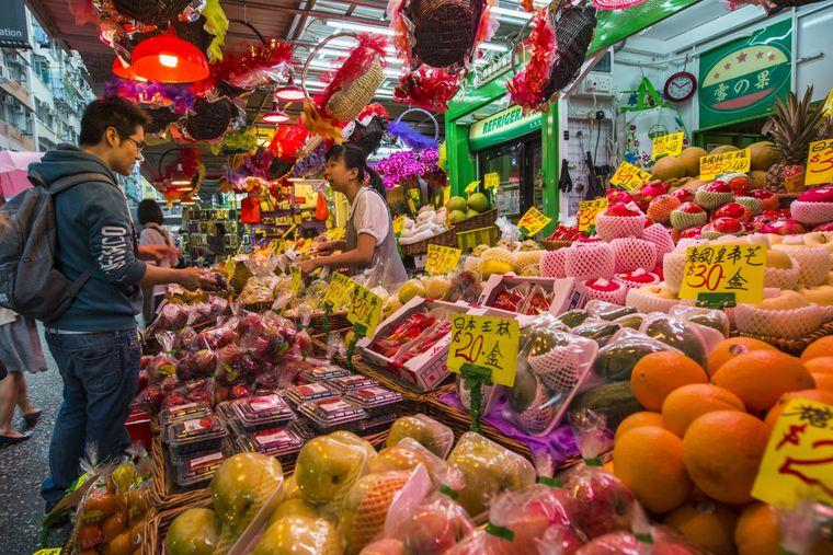 Marktstand in Hongkong.