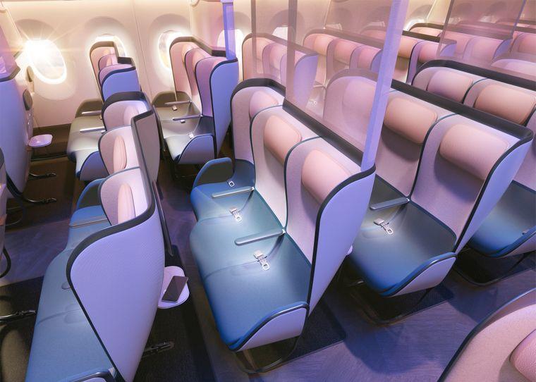 Diese Flugzeugsitze ändern ihre Farbe nach der Reinigung.