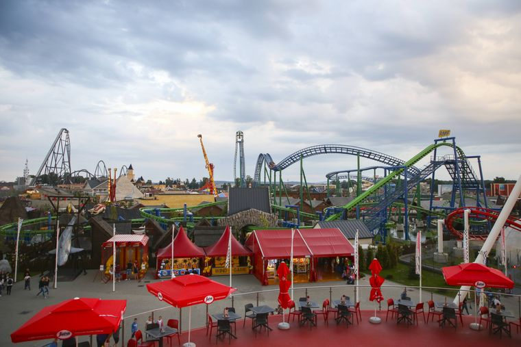Der Freizeitpark Energylandia in Zator, Polen.
