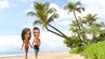 Fotomontage: Josh und Michelle laufen am Strand von Hawaii.