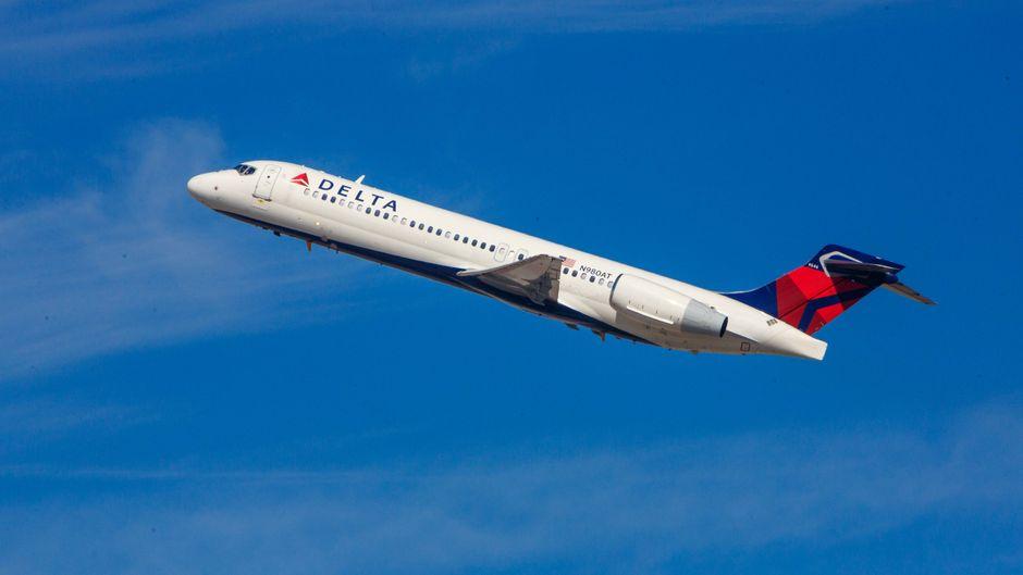 Eine Flugzeug der Delta Airlines aus Amerika.