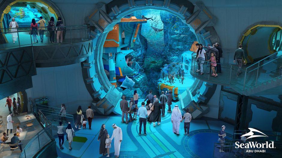 Mit 25 Millionen Liter Wasser soll SeaWorld Abu Dhabi das größte Aquarium der Welt besitzen.