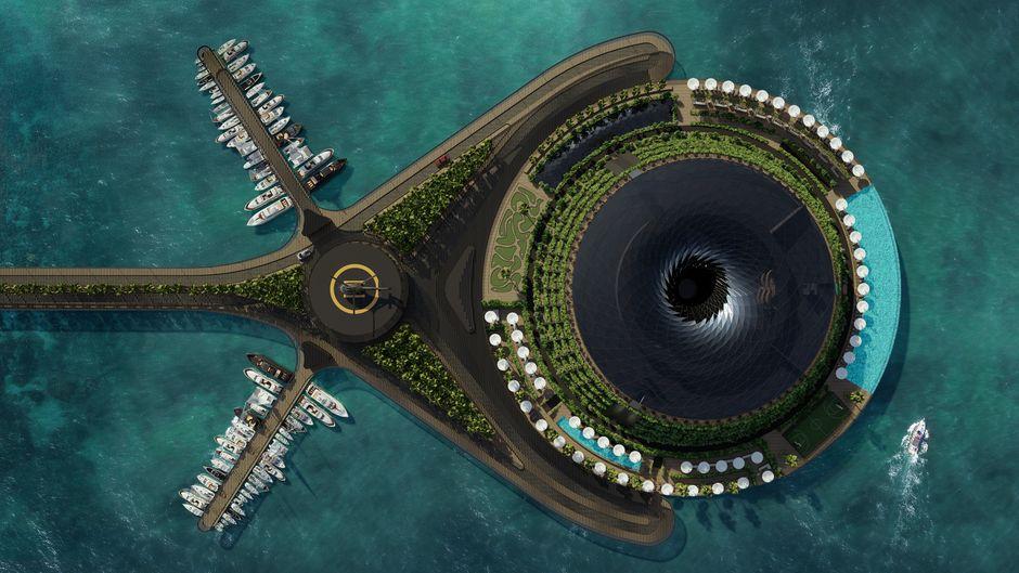 Das schwimmende Hotel könnte 2025 in Katar eröffnen.