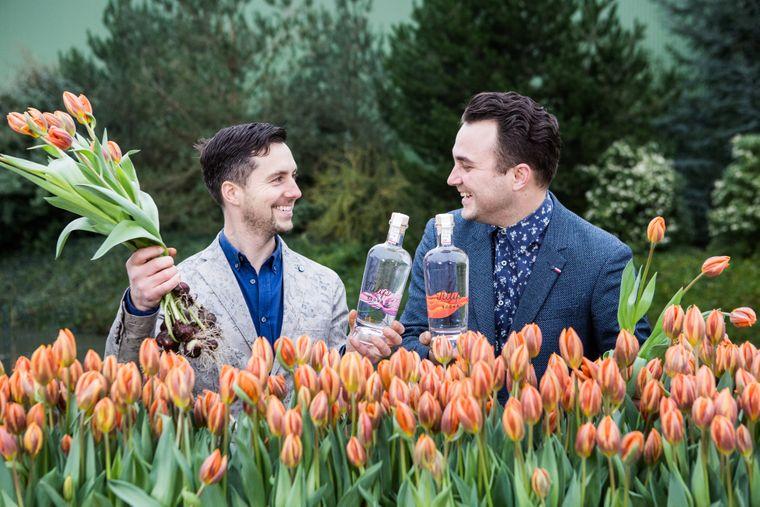 Bart Bouter (links) und Joris Putman stellen aus Tulpenzwiebeln den ersten Tulpenwodka der Niederlande her: Dutch Tulip Vodka.