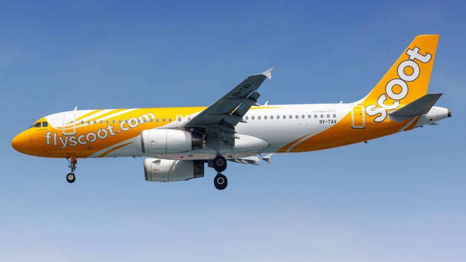 Ein Airbus A320 der Billig-Airline Fly Scoot aus Singapur.