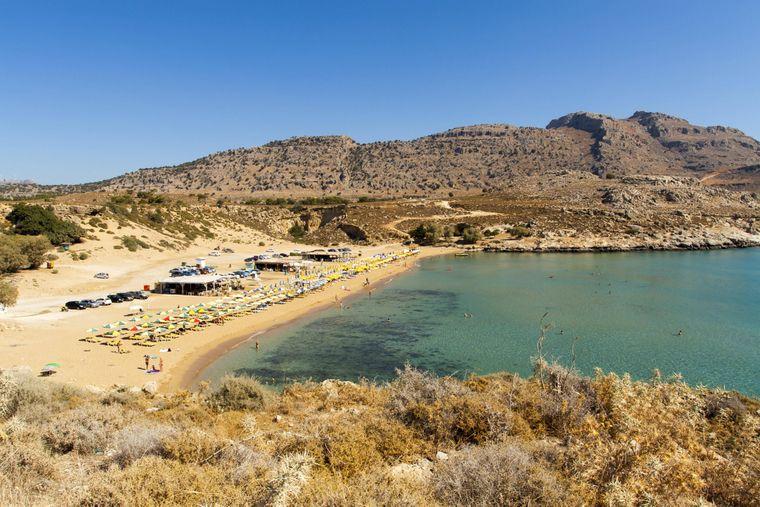 Blick auf den Agathi Beach auf Rhodos.