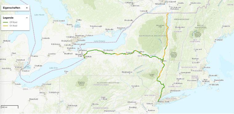 """Der """"Empire State Trail"""" bildet eine T-Form. Er führt von New York nach Kanada und von Buffalo nach Albany."""