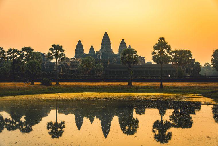 Atemberaubend schön, aber auch ziemlich überlaufen: Die Tempelanlage von Angkor Wat in Kambodscha.