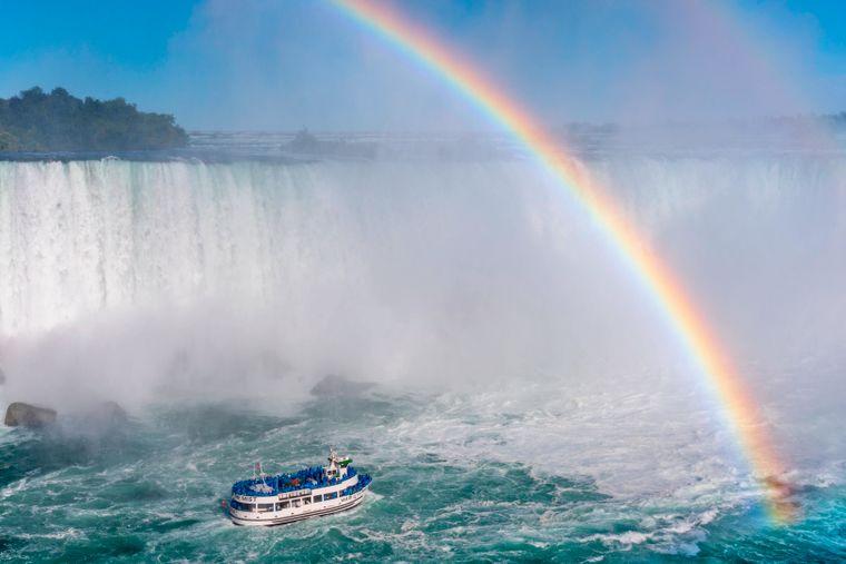An den Niagarafällen sind oft Regenbögen zu sehen.