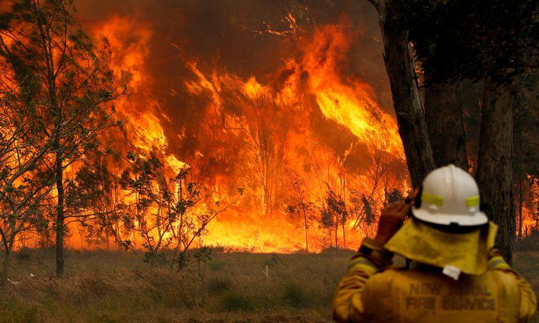 Ein Feuerwehrmann steht vor brennendem Buschland in Australien.