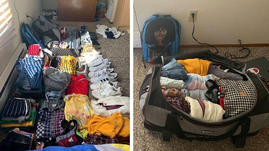 Das vorher-nachher-Bild zeigt: Der gefühlt halbe Kleiderschrank der Studentin passte tatsächlich in ihre Reisetasche.