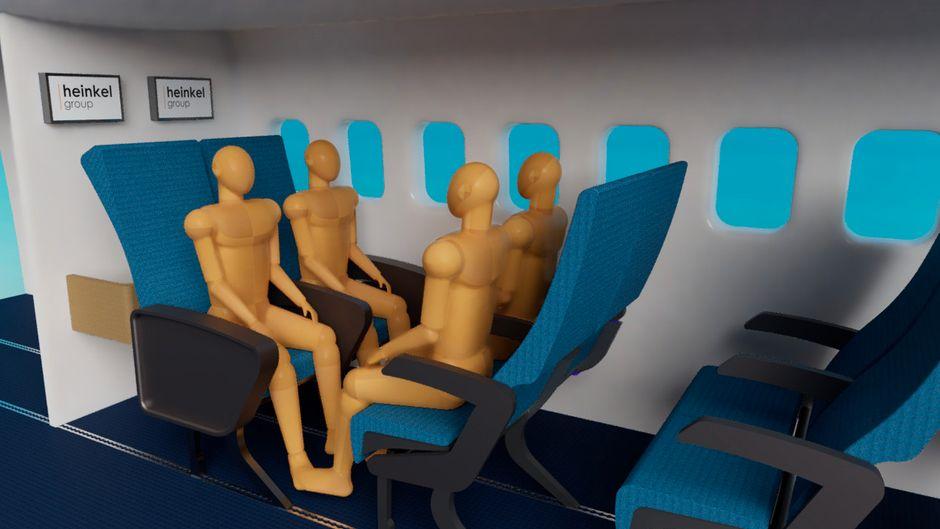 Idee einer Vierersitzgruppe im Flugzeug.