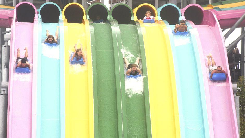 Badegäste rutschen im Wasserpark Aquatica in Orlando