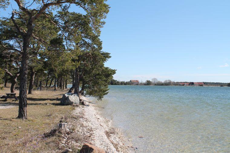 Nicht nur das Meer, auch zahlreiche Seen funkeln in der Frühlingssonne auf Gotland in Schweden.