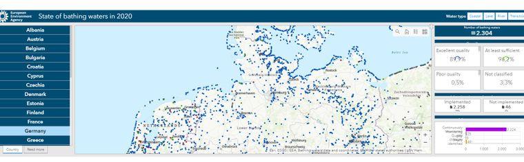 Die interaktive Karte der Europäischen Umweltagentur EEA zur Wasserqualität in Europa.
