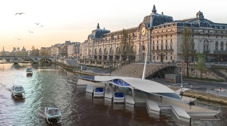 Taxi-Stationen auf dem Wasser in Paris.