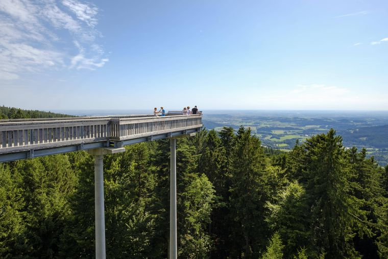 Der Menschen genießen die Aussicht vom Waldwipfelweg bei Sankt Englmar im Bayerischen Wald.
