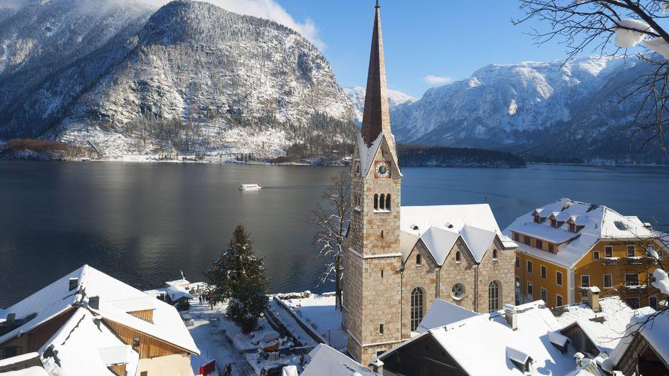 Kirche in Hallstatt, Oberösterreich.