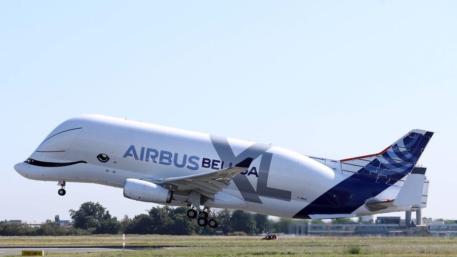 Gestern hob die Beluga XL zum ersten Mal ab.