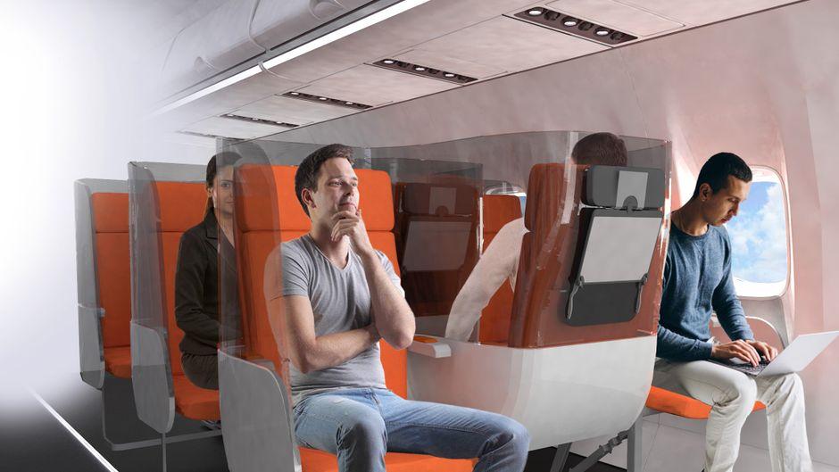 Ein umgedrehter Mittelsitz in einem Flugzeug.