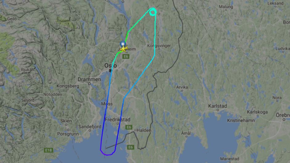 Die Flugroute des Norwegian-Flugs DY-1156 von Oslo nach Oslo (eigentlich München).