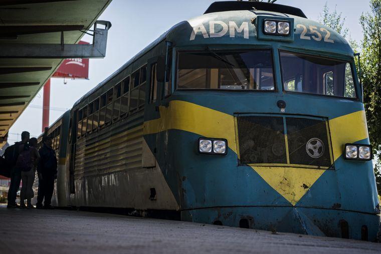 Der Schienenbus im Bahnhof von Constitución.
