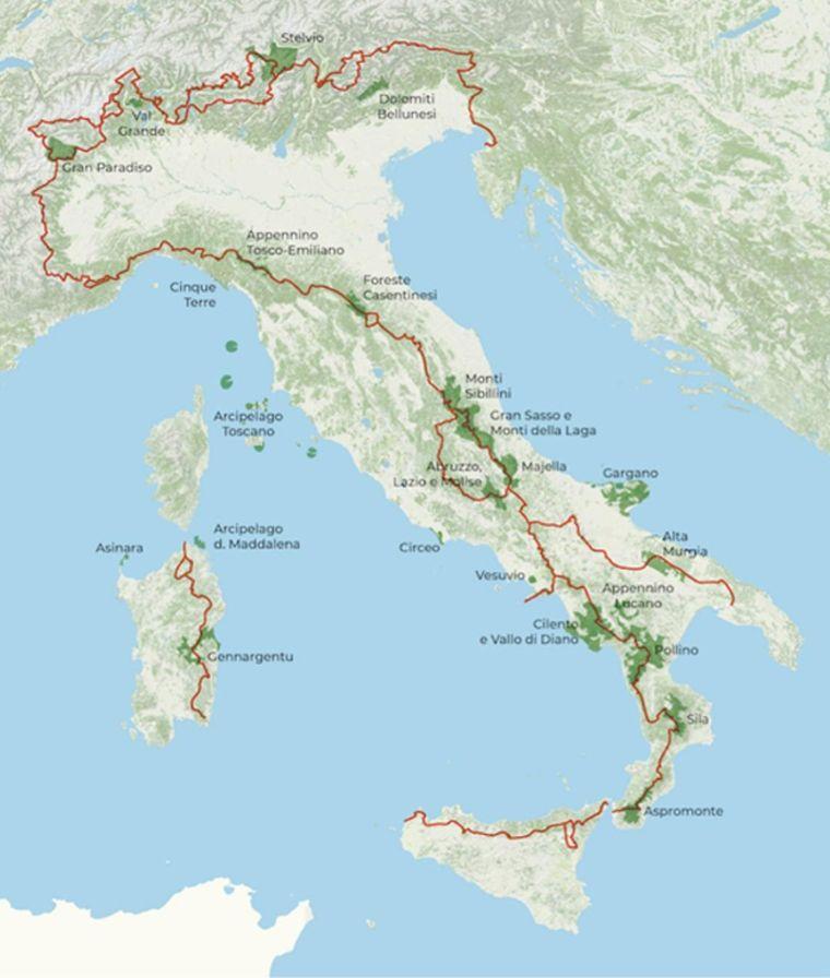 """Route des geplanten """"Weg der Parks"""" durch Italien."""